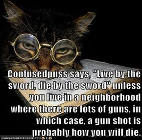 "Confusedpuss says, ""Live by the sword, die by the sword"" unless you live in a neighborhood where there are lots of guns, in which case, a gun shot is probably how you will die."