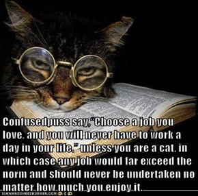 "Confusedpuss say,""Choose a job you love, and you will never have to work a day in your life."" unless you are a cat, in which case any job would far exceed the norm and should never be undertaken no matter how much you enjoy it."