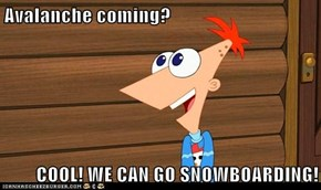 Avalanche coming?  COOL! WE CAN GO SNOWBOARDING!