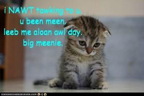 i NAWT tawking to u. u been meen. leeb me aloan awl day. big meenie.