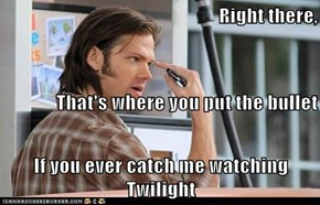 Right there,  That's where you put the bullet If you ever catch me watching Twilight