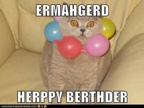 ERMAHGERD  HERPPY BERTHDER