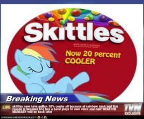 Breaking News - skittles now have gotten 20% cooler all because of rainbow dash and this reason is because she has a band plays hr own voice and now WEATHER MANAGER will be back later