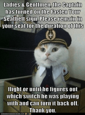 Ladies & Gentlmen, the Captain has turned on the Fasten Your Seatbelt sign. Please remain in your seat for the duration of this   flight or until he figures out which switch he was playing with and can turn it back off. Thank you.