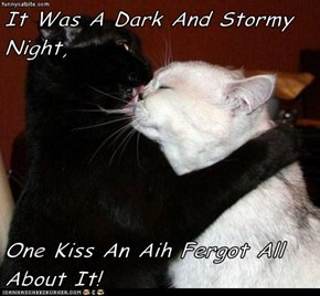 It Was A Dark And Stormy Night,  One Kiss An Aih Fergot All About It!