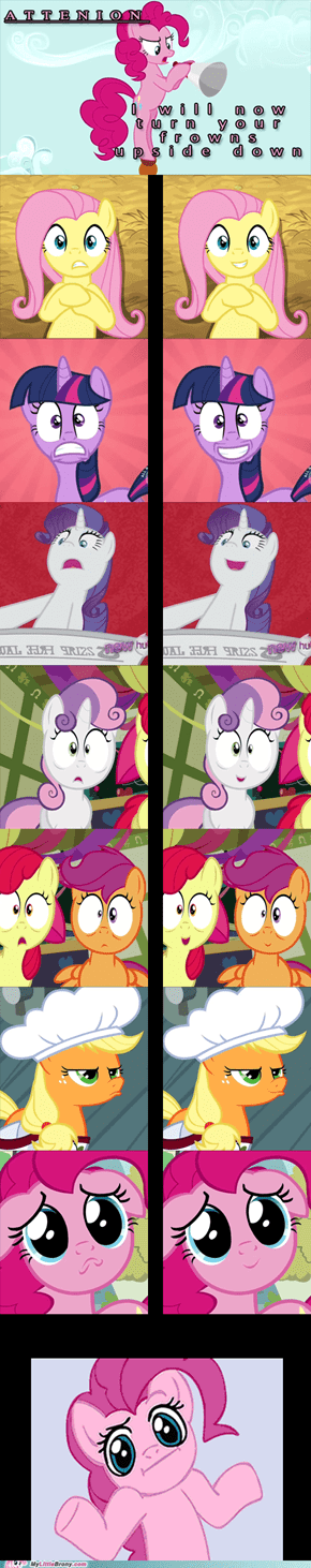 Pinkie Even Makes Herself Smile