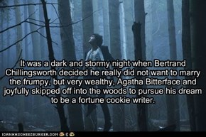 It was a dark and stormy night when Bertrand  Chillingsworth decided he really did not want to marry the frumpy, but very wealthy, Agatha Bitterface and joyfully skipped off into the woods to pursue his dream to be a fortune cookie writer.