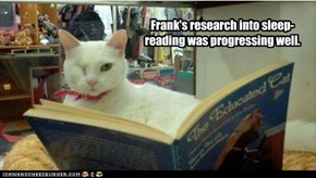 Frank's research into sleep-reading was progressing well.