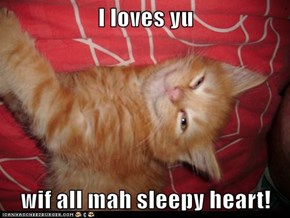 I loves yu  wif all mah sleepy heart!