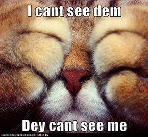 I cant see dem  Dey cant see me