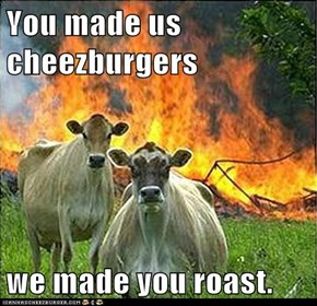 You made us cheezburgers  we made you roast.