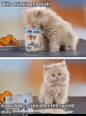 i like drinkin teh milk!  nao who is crien ober teh spwild milk?
