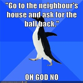 """Go to the neighbour's house and ask for the ball back.""  OH GOD NO"