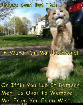 "Pleese Dunt Put Teh               ""F Wurd"" On Mai Dashbord!! Or Iffin You Lub It Bettern Meh, Is Okai Ta Wemove Mei Frum Yer Frien Wist.."