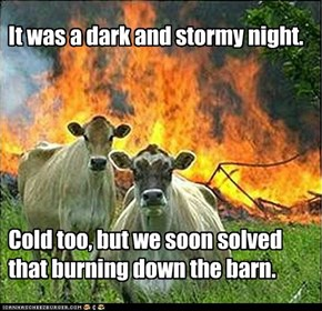 It was a dark and stormy night.        Cold too, but we soon solved that burning down the barn.