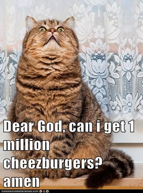 Dear God, can i get 1 million cheezburgers? amen