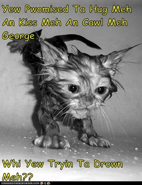 Yew Pwomised Ta Hug Meh An Kiss Meh An Cawl Meh George...  Whi Yew Tryin Ta Drown Meh??