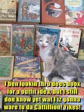 I ben lookin thru dees boox for a outfit idea, but I still don know yet wat I iz gonna ware to da Cattillion! Yikes!