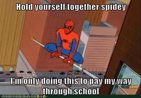 Hold yourself together spidey  I'm only doing this to pay my way through school