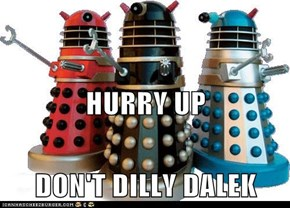 HURRY UP DON'T DILLY DALEK