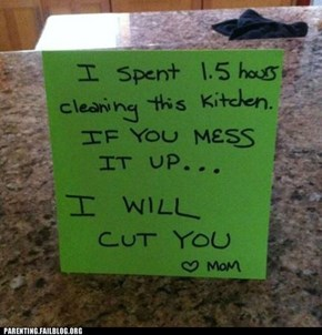 Parenting Fails: I'm Just Gonna Avoid the Kitchen for Awhile