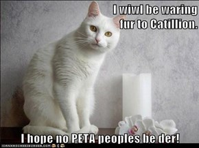 I wiwl be waring                                         fur to Catillion.   I hope no PETA peoples be der!
