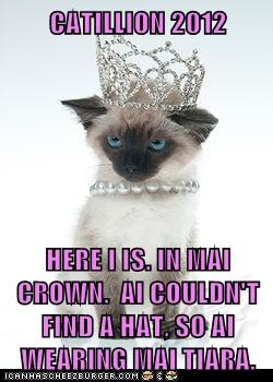 CATILLION 2012  HERE I IS. IN MAI CROWN.  AI COULDN'T FIND A HAT, SO AI WEARING MAI TIARA.