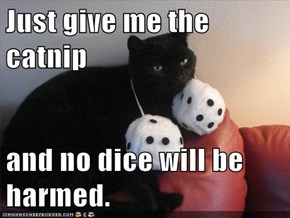 Just give me the catnip  and no dice will be harmed.