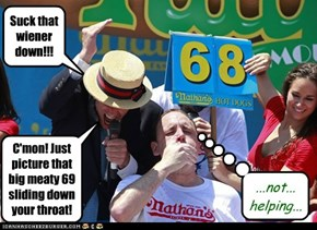 Anderson Cooper emcee's the Nathan's Hot Dog Eating Contest for the first and last time.