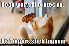 Doan wury, Ai protec yu.  Us Gingers stick tugevur.