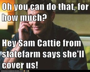Oh you can do that, for how much?  Hey Sam Cattie from statefarm says she'll cover us!
