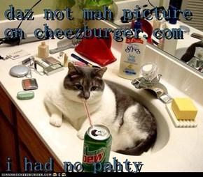 daz not mah picture on cheezburger.com  i had no pahty