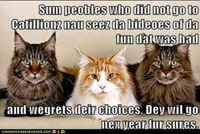 Sum peobles who did not go to Catillionz nau seez da bideoes of da fun dat was had  and wegrets deir choices. Dey wil go nex year fur sures.