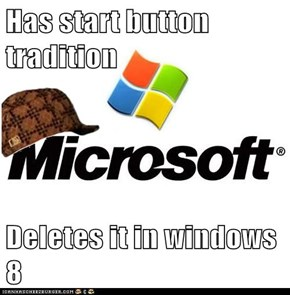 Has start button tradition  Deletes it in windows 8