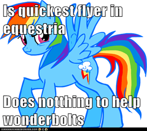 Is quickest flyer in equestria  Does notthing to help wonderbolts