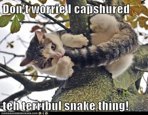 Don't worrie I capshured   teh terribul snake thing!