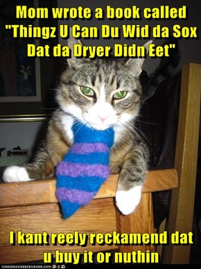 "Mom wrote a book called ""Thingz U Can Du Wid da Sox Dat da Dryer Didn Eet""  I kant reely reckamend dat u buy it or nuthin"