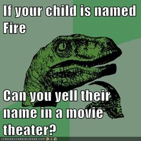 If your child is named Fire  Can you yell their name in a movie theater?