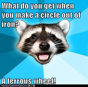What do you get when you make a circle out of iron?  A ferrous wheel!