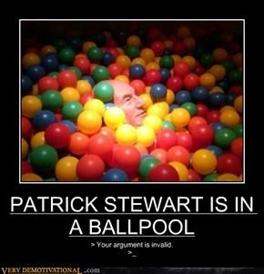 PATRICK STEWART IS IN A BALLPOOL