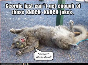 Georgie  just  can ' t  get  enough  of  those  KNOCK - KNOCK  jokes .