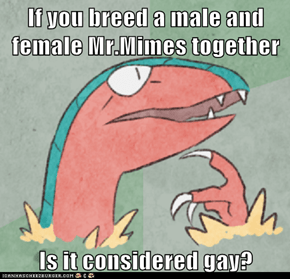 If you breed a male and female Mr.Mimes together  Is it considered gay?