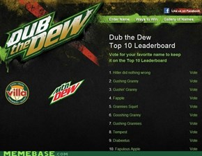 Mountain Dew are having a contest for people to decide what the name of their next drink will be