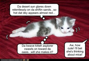 Da desert sun glares down relentlessly on da shiftin sands...so hot dat dey appears almost red...