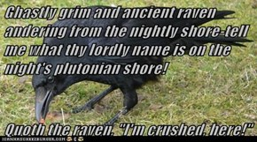 """Ghastly grim and ancient raven andering from the nightly shore-tell me what thy lordly name is on the night's plutonian shore!  Quoth the raven, """"I'm crushed, here!"""""""