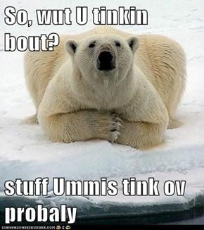 So, wut U tinkin bout?  stuff Ummis tink ov probaly