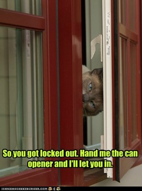 So you got locked out. Hand me the can opener and I'll let you in.