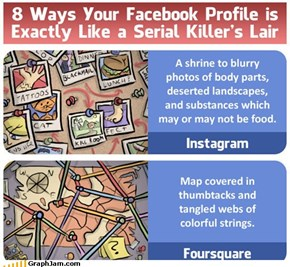 8 Ways Your Facebook Profile is Like a Serial Killer's Lair  Read more: 8 Ways Your Facebook Profile is Like a Serial Killer's Lair | Cracked.com http://www.cracked.com/quick-fixes/8-ways-your-facebook-profile-like-serial-killers-lair/#ixzz23w6wokXX