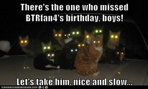 There's the one who missed BTRfan4's birthday, boys!  Let's take him, nice and slow...