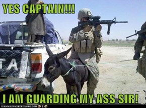 YES CAPTAIN!!!  I AM GUARDING MY ASS SIR!